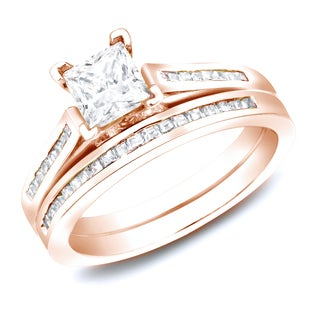 Auriya 14k Rose Gold 1.50ct TDW Certified Princess-Cut Diamond Bridal Ring Set