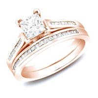 14k Rose Gold 1 1/2ct TDW Channel Set Princess Cut Diamond Engagement Ring Set by Auriya