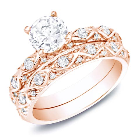 Auriya 1ctw Round Diamond Engagement Ring Set 14k Rose Gold