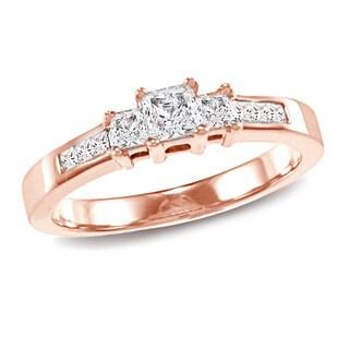 Auriya 14K Gold 1/2ct TDW Princess-Cut Diamond Engagement Ring