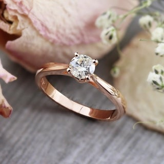 Auriya 14k Rose Gold 1/2ct TDW Round Diamond Solitaire Engagement Ring