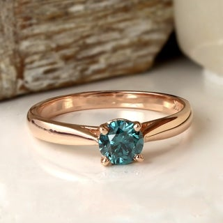 Auriya 14k Rose Gold 3/4ct TDW Blue Diamond Solitaire Engagement Ring