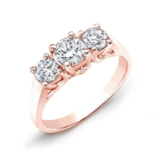 Auriya 14k Rose Gold 2ctw 3-Stone Diamond Engagement Ring