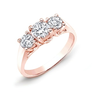 Auriya 14k Rose Gold 2ct TDW Round Diamond 3-stone Engagement Ring