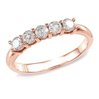 Auriya 10k Gold 10k Rose Gold 1/2ctw 5-Stone Diamond Wedding Band