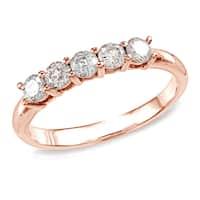 Auriya 10k Rose Gold 1/2ct TDW 5-stone Stackable Diamond Wedding or Anniversary Band