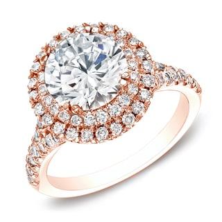 Auriya 14k Rose Gold 1 5/8ct TDW Certified Round Diamond Double Halo Engagement Ring