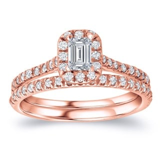 Auriya 14k Rose Gold 1ct TDW Emerald Diamond Halo Bridal Ring Set