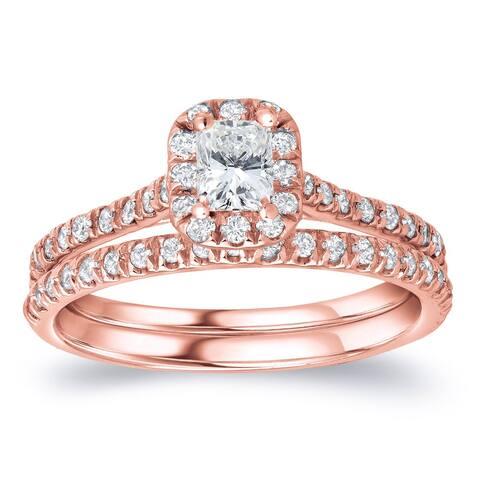 Auriya 14k Rose Gold 1ctw Radiant-cut Halo Diamond Engagement Ring Set