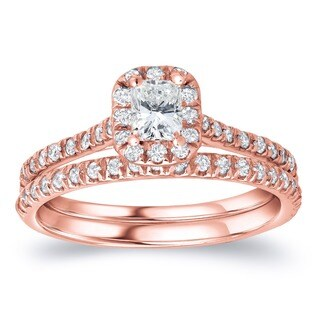 Auriya 14k Rose Gold 1ct TDW Certified Radiant Diamond Halo Bridal Ring Set