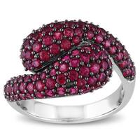 Miadora Sterling Silver Created Ruby Bypass Ring