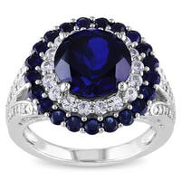 Miadora Sterling Silver Created Blue and White Sapphire with Diamond Accent Double Halo Cocktail Ring
