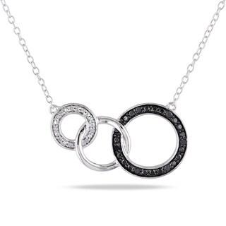 Miadora Sterling Silver Black and White Diamond Circle Necklace
