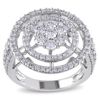 Miadora Signature Collection 14k White Gold 2ct TDW Cluster Circle Halo Diamond Ring
