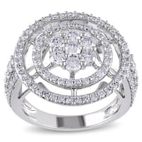 Miadora 14k White Gold 2ct TDW Clustered Circle Halo Diamond Engagement Ring