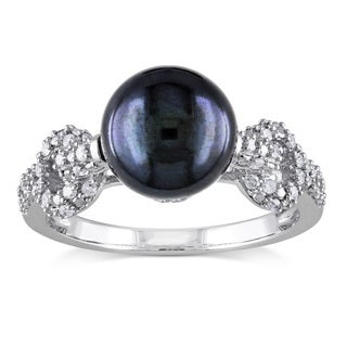 Miadora 10k White Gold Black Cultured Freshwater Pearl and 1/4ct TDW Diamond Ring (H-I, I2-I3)