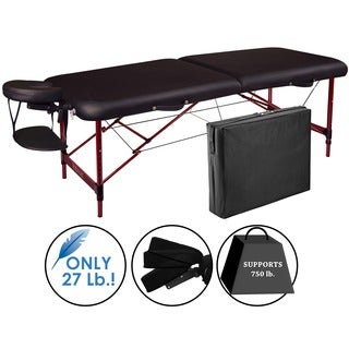 Master Massage Zephyr Mahogany/Black Aluminum/PU 28-inch Lightweight Portable Massage Table Package