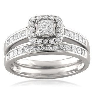 Montebello 14k White Gold 1ct TDW Princess-cut Diamond Channel-set Bridal Set
