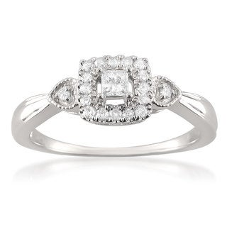 Brides Across America by Montebello 10k White Gold 1/4ct TDW Princess-cut Diamond Halo Promise Ring (H-I, I1-I2)