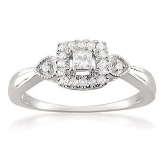 Montebello 10k White Gold 1/4ct TDW Princess-cut Diamond Halo Promise Ring (H-I, I1-I2)
