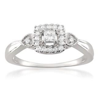 Montebello 10k White Gold 1/4ct TDW Princess-cut Diamond Halo Promise Ring