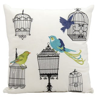 Mina Victory Indoor/Outdoor Bird Cages White Throw Pillow (18-inch x 18-inch) by Nourison