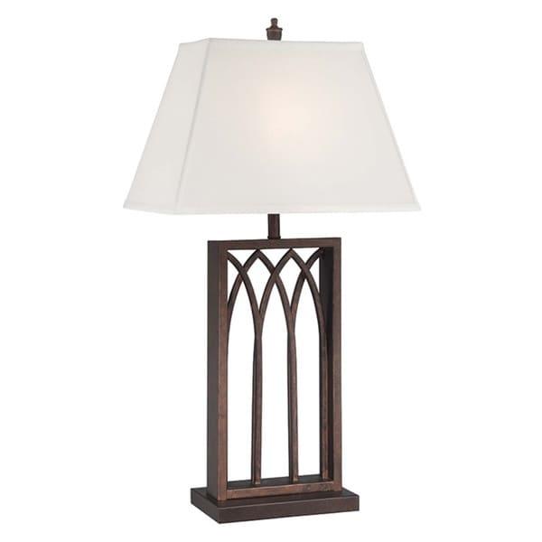 Lite Source Cambridge Antique Bronze 1-light Column Table Lamp