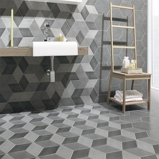 SomerTile 8.75x8.75-inch Concret Cubic Vigeland Porcelain Floor and Wall Tile (Case of 15)