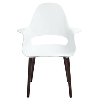 American Atelier Living Conrad Brown Wooden Leg White Chair