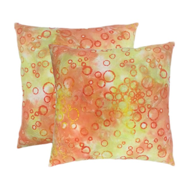 Edie Cotton Batik Peach 20-inch Throw Pillows (Set of 2) ...