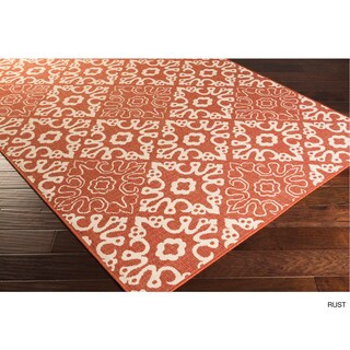 Olivia Contemporary Geometric Indoor/Outdoor Area Rug (Option: Rust)