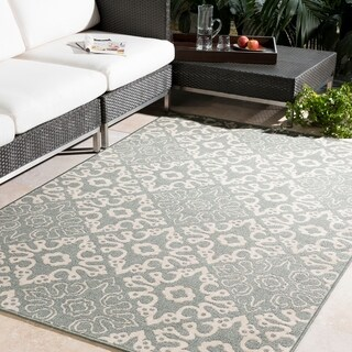 Olivia Contemporary Geometric Indoor/Outdoor Area Rug (5'3 Round)