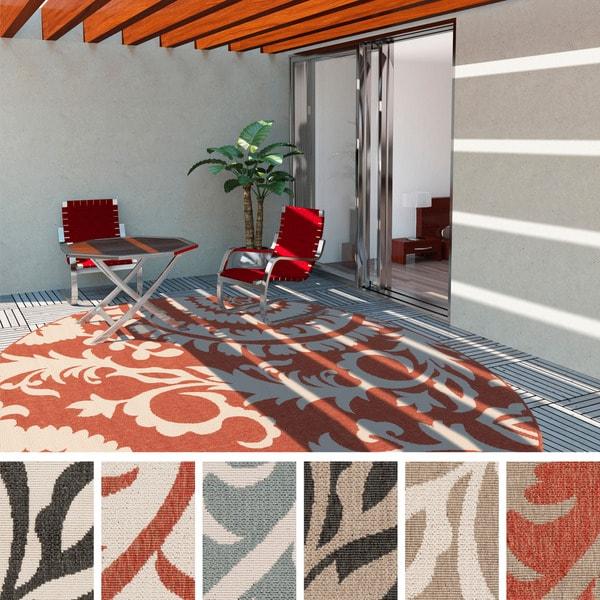 Nina Contemporary Floral Indoor/Outdoor Area Rug (7'3 Round) - 7'3