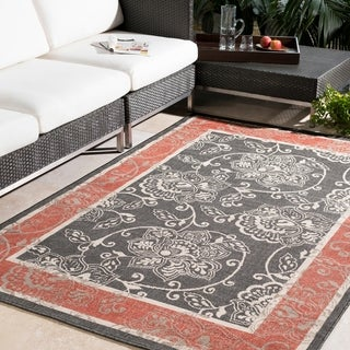 Meticulously Woven Janelle Contemporary Floral Indoor/Outdoor Area Rug (7'3 Square)