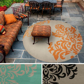 Hand-hooked Adrianne Contemporary Floral Indoor/Outdoor Area Rug (8' Round)