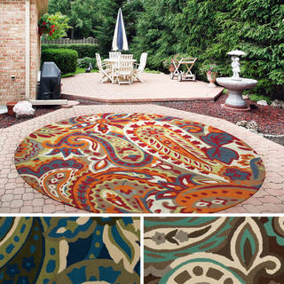 Hand-hooked Gena Contemporary Floral and Paisley Indoor/Outdoor Area Rug (8' Round)