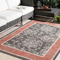 Janelle Contemporary Floral Indoor/Outdoor Area Rug (8'9 Round)