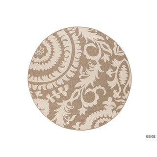 Meticulously Woven Nina Contemporary Floral Indoor/Outdoor Area Rug (8'9 Round)