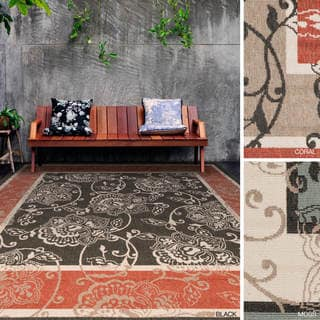 Meticulously Woven Janelle Contemporary Floral Indoor/Outdoor Area Rug (8'9 Square)