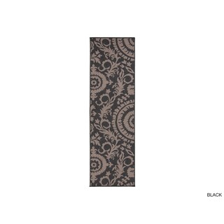 Nina Contemporary Floral Indoor/Outdoor Area Rug (2'3 x 11'9) (Option: Khaki/Ebony/Taupe/Beige/Camel/Onyx/Cream/Champagne/Oatmeal/Chamois)