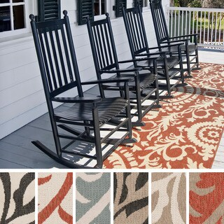 Meticulously Woven Nina Contemporary Floral Indoor/Outdoor Area Rug (2'3 x 11'9) (Option: Beige)