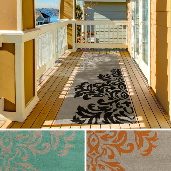 Contemporary Outdoor Area Rugs: Hand-hooked Adrianne Contemporary Floral Indoor/Outdoor