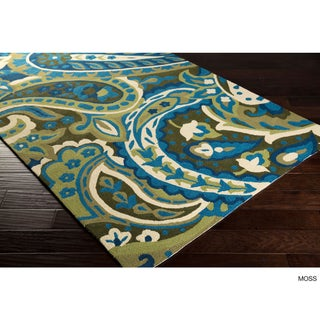 Hand-hooked Gena Contemporary Floral and Paisley Indoor/Outdoor Area Rug