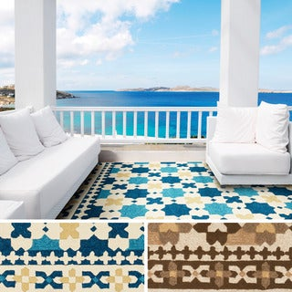 Hand-hooked Melora Contemporary Geometric Indoor/Outdoor Area Rug (5' x 7'6)