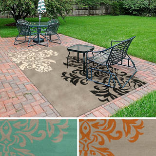 Hand-hooked Adrianne Contemporary Floral Indoor/Outdoor Area Rug - 5' x 8'