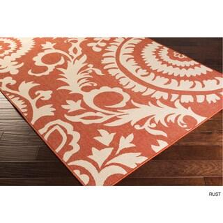 Nina Contemporary Floral Indoor/Outdoor Area Rug (5'3 x 7'6) - 5'3 x 7'6 (Option: Rust)