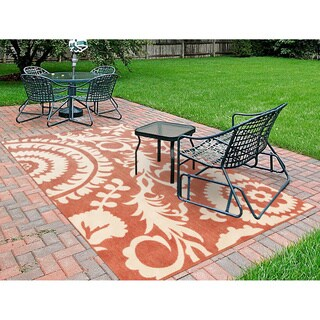Nina Contemporary Floral Indoor/Outdoor Area Rug (5'3 x 7'6) - 5'3 x 7'6