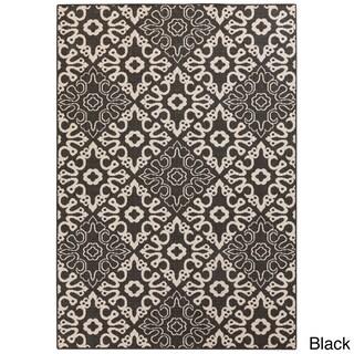 Olivia Contemporary Geometric Indoor/Outdoor Area Rug (Option: Black)
