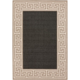 Annette Contemporary Bordered Indoor/ Outdoor Area Rug (6 x 9 - Black)