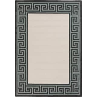 Annette Contemporary Bordered Indoor/ Outdoor Area Rug (6 x 9 - Ivory)